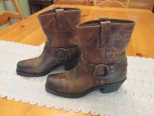 Vintage Frye Brown Harness Pull-On Ankle Leather Boots Women's US 6M