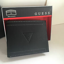 NEW ARRIVAL! GUESS MEN BLACK GENUINE LEATHER BILLFOLD PASSCASE VALET WALLET SALE