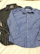 Lot 2 Mens American Eagle Long Sleeve Button Down Shirts Medium Blue Gray Stripe