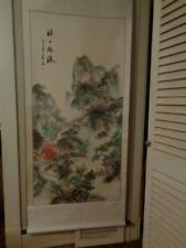 Vintage Chinese hand painted scroll wallhanging signed landscape waterfall Large