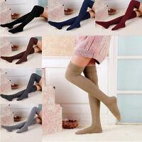 Women Girl Winter Over Knee Leg Warmer Soft Knit Crochet Sock Legging Stockings