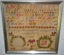 Antique1872 Danish Hand Stitched Embroidered Alphabet & Denmark Flag Sampler