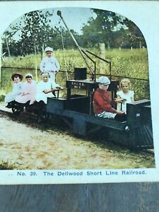 Antique Stereoview Card Photo Tinted THE DELLWOOD SHORT LINE RAILROAD Kids Train