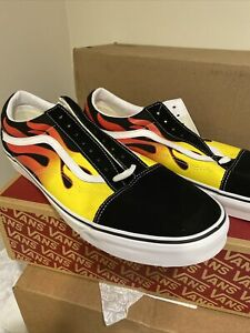 """Vans Old Skool Skate Shoes Black Yellow Flame Wall """"Off The Wall"""" Men's Size 16"""