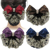 Floral Lace Satin Bow Hair Net Barrette Lady Snood Hair Accessories Professional