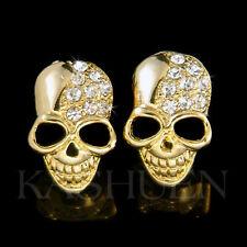w Swarovski Crystal Skull Hip Hop Day of Dead Gothic Gold Tone Goth Earrings New