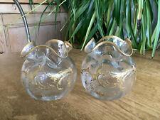 More details for 2 classic gilt frilled rim mont joye legras 9cm glass vases