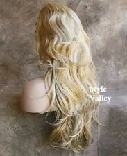 Blonde Mix 3/4 Wig Fall Hairpiece Long Wavy Half Wig Layered Hair Piece XL