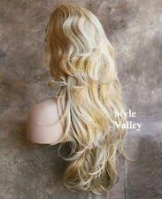 Blonde Mix 3/4 Wig Fall Hairpiece Long Wavy Half Wig Layered Hair Piece XL