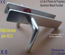 Lot 6 Paires Poignées Aluminium Anodisé,,Prêt à Poser (Dimension:photo 2) Porte