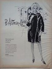 1966 B Altman Co  Black Fur Seal Winter Coats Woman Drawing By J Howard Ad