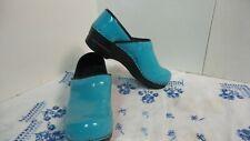 Sanita TURQUOISE Patent Leather Clog Shoes sz 37 Slip On NURSE SHOES Very Nice