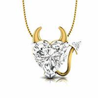 "2.00 CT Solitaire Diamond Devil Heart Pendant 14k Yellow Gold GP 18"" Necklace"