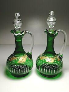 2 x (Pair) Antique Victorian Bohemian Czech Green Glass Enamelled Decanter Ewers