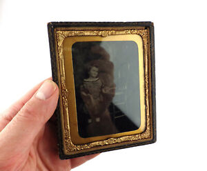 YOUNG GIRL/BOY WITH TINPLATE TRAIN~ANTIQUE AMBROTYPE PHOTO~19TH CENTURY TOY/GAME