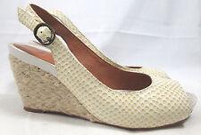 Nurture womens shoes 7.5 off-white snakeskin peep-toe slingback wedge heels Luna