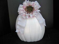 "NEW 2018 Made USA Lg Tall 14""h Ceramic Pumpkin White Satin Glaze  Bow & Sunflowe"