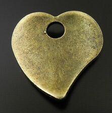 100X Vintage Style Bronze Tone Cincinal Heart Love Pendant Charms 13*13*1mm