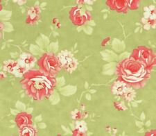 MODA Fig Tree & Co Farmhouse Rose Flower Bouquet on Olive Green Fabric - FQ