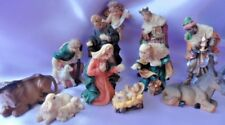 "Small Nativity Set 11 Figures 3"" Hand painted resin traditional design, boxed"