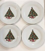 "VTG Sea Gull Christmas Tree Dinner Plates JIAN SHIANG Set of 4 Fine China 10.5""D"