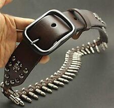 Rocker Skull Bullet Style Men's Genuine Leather Belt Outdoorsman PUNK Waistband
