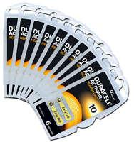 120 Batterie pile Duracell Activair 10 per Apparecchi Acustici udito PR70