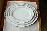 "Set of 3 VTG Noritake CRESTMONT Oval Handled Platters 16"" 14"" 12"" Platinum Trim"