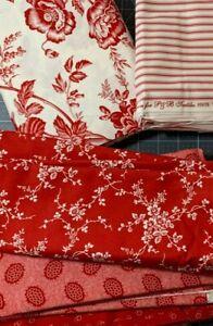 LAP Size Quilt KIT REDWORK ROMANCE Alex Anderson P & B fabric RED & WHITE