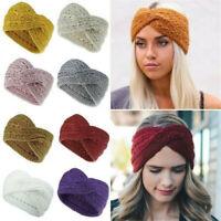 NEW Women Winter Hairband Wool Knitted Ear Warmer Headband Twist Cross Head Wrap