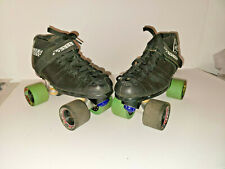 RIEDELL CARRERA SPEED ROLLER SKATES Mens SIZE 9 BLACK LEATHER