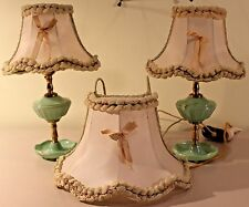 Rare Depression Jadite Color Green Glass Boudoir Vanity Dresser/ Bed Lamps