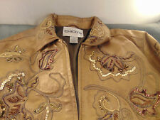 Fancy Womens Gold leather jacket coat Chico size 1 sequins beading art zipper