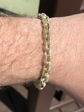Iced Out Rolo Link Bracelet 14k Gold Over Solid 925 Silver Man Made Diamonds 6mm