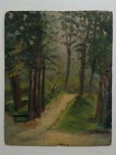 Tableau ancien XIXeme Paysage Allée forestière Huile sur Almanach 1887