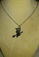 """Hematite Witch on her Besom Pendant & Silver Coloured 18"""" Chain. Pagan, Wicca"""