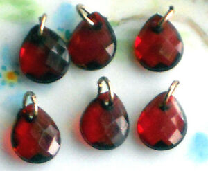 #525E Vintage Ruby Drops Dangles Dangle Drop Acrylic Findings Connectors Faceted