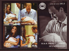 PAPUA NEW GUINEA 2013 ROYAL BABY SHEETLET OF 4 UNMOUNTED MINT, MNH