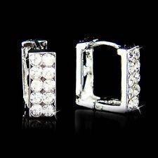 Bling Hip Hop Punk w Swarovski Crystal ~Rectangle Huggie~~ Hoop Fashion Earrings