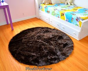 5' chocolate brown faux fur rug round area rug plush fur throw rug home decors