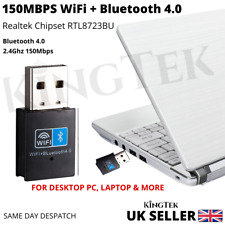 WiFi & Bluetooth 4.0 Dongle 150Mbps USB Wireless Adapter 802.11 B/G/N Laptop PC
