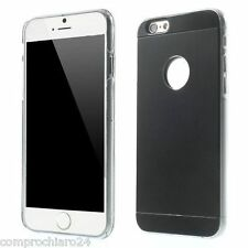 "Custodia Rigida Nera con Retro in Alluminio per iPhone 6 4,7"" - Cover Case"
