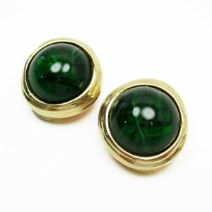 Auth Christian Dior Vintage Clip-on Earrings Gold/Green - h27249f