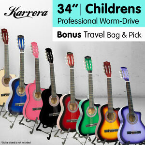 New Karrera Childrens Acoustic Cutaway  Wooden Guitar Ideal Kids Gift 1/2 Size