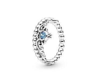 Authentic Pandora Sliver Disney Cinderella Blue Tiara Ring 199191 58mm #7