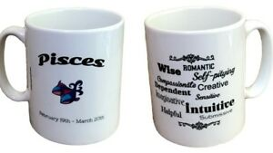 Pisces Star Sign Mug. Zodiac Mug With Description Of Pisces. Zodiac Mugs