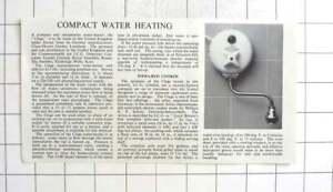 "1958 Compact Water Heater, ""Clage"" , Claus-Homer Gerdes, Luneberg, Described"