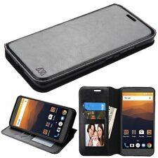 For ZTE Max XL N9560 Leather Flip Wallet Case Protective Hybrid Cover Fold BLACK