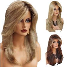 Womens Blonde Gradient Medium Long Curly Wavy Wig Ladies Heat Resistant Hair Wig