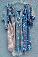 Ashley Stewart Women's Tunic 22/24 Multicolor Boho Cold Shoulder Bell Sleeve Top